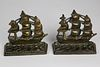 Pair of Vintage Brass Clipper Ship Bookends