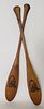 Pair of Vintage 1930s Souvenir Adirondack Miniature Canoe Paddles