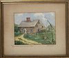"""Vintage Anne H. Mellin Watercolor on Paper, """"Jethro Coffin House 1686"""", Nantucket"""