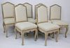 Six White Washed Upholstered Dining Chairs