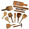 Group of 13 Assorted Carved Wood Tools