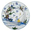 English Delftware Polychrome Chinoiserie Dish