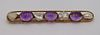 JEWELRY. 14kt Gold, Amethyst and Pearl Bar Pin.