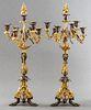 French Art Nouveau Gilt Bronze Candelabra, Pair
