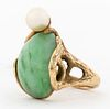 1970's 14K Yellow Gold Textured Jade & Pearl Ring
