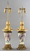 Chinese Ormolu-Mounted Famille Rose Lamps, Pair