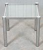 Modern Chrome And Glass Side Table