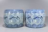 Two Antique Japanese Blue & White Porcelain Hibachi