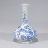 Korean Blue & White Porcelain Bottle Vase