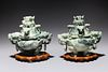 Pair of Chinese Carved Harsdstone Covered Censers