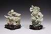 Two Chinese Carved Jade Covered Vases
