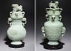 Two Large Chinese Carved Hardstone Covered Vases
