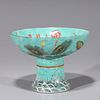 Chinese Famille Rose Enameled Porcelain Stem Bowl