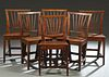 Set of Six French Provincial Craved Elm Side Chairs, 19th c., the canted curved back with six fan shaped splats, to a trapezoidal seat, on tapered squ
