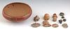 Pre Columbian Pottery Bowl, with nine pre-Columbian pottery figural fragments, and three pre-Columbian pottery circular beads, Bowl- H.- 3 3/4 in., Di