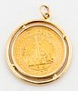 Israel Liberata 22K Gold Coin 14K Gold Pendant