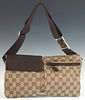 Gucci Waist Pouch Belt, in beige monogram canvas with dark brown canvas accents and silver hardware, H.- 6 3/4 in., W.- 11 3/4 in.
