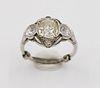Estate Old Mine Cut Three Stone Diamond Ring