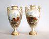 Pair of Royal Worcester Urns, John Stinton