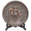 "Antique German Bronze ""Behut Dich Gott"" Wall Plaque"