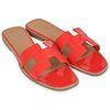 Pair of Hermes Patent Leather Oran Sandal Coral