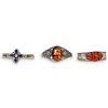 (3 Pc) Sterling SIlver and Semi Precious Stone Cuffs