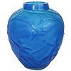 After Rene Lalique Archers Electric Blue Glass Vase