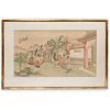 Chinese Watercolor on Silk Painting