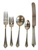 Gorham Sterling Silver Flatware Set for 12, plus two English fish knives, and six Georg Jensen demi spoons, to include jack knives and silverplate, 71