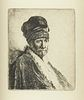 """After Rembrandt """"Bust of Man Wearing a High Cap"""" Etching"""