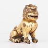 Chinese Gilt Bronze Foo Dog Guardian Lion Standing Paperweight