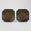 Pair of Chinese Bronze Gold & Silver Inlay Plates