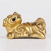 Chinese Gilt Bronze Foo Dog Guardian Lion Paperweight