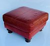 Red Leather Bench/Ottoman