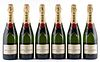 Six bottles of Moët & Chandon Impérial. Category: brut champagne. AOC Champagne. In its box.