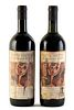Two bottles Monte Vertine Le Pergole Torte, vintage 1985. Label illustrated by Alberto Manfredi, limited edition of 3450. Category: red wine. D.O.C. T