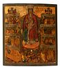 """Russian school, workshops of the Old Believers, 17th century. """"The Virgin of All Sorrows"""". Tempera, gold leaf on panel."""