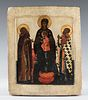 """Russian school, late 16th century. """"The Virgin and Child Jesus and selected saints"""". Tempera, gold leaf on panel."""