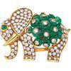 PRENDEDOR CON ESMERALDAS Y DIAMANTES EN ORO AMARILLO DE 18K con esmeraldas corte rondelle y cabujón, diamantes corte brillante ~2.80ct | BROOCH WITH E
