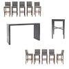 Set de muebles para bar. SXXI. Elaborado en madera Consta de: 10 Sillas altas. Con respaldos cerrados.