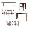 Set de muebles para bar. SXXI. Elaborado en madera y aluminio Consta de 11 Sillas altas. Con respaldos semiabiertos y 3 mesas.
