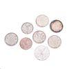 Seis monedas de 1 Onza de plata ley .999 y dos monedas de 1/2 Onza de plata ley .999. Peso: 218.4 g.