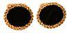 "14 Karat Gold Cufflinks, with onyx stones, top 1"" x 3/4"", 13.6 grams."