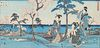 Antique Japanese Woodblock Triptych - Hiroshige