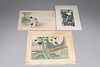 Group of Three Japanese Prints & Lithographs