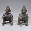 Two Antique Indian Bronze Crawling Shiva Statues