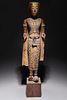 Antique Thai Standing Gilt Wood Figure