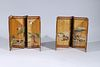 Two Antique Japanese Miniature Six-Panel Screens