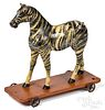 Painted zebra pull toy, late 19th c.