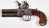 English double barrel flintlock pistol, ca. 1800